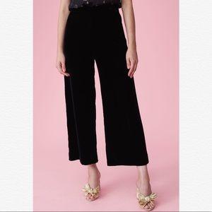 Rebecca Taylor Velvet Wide Leg Crop Luxurious Pant